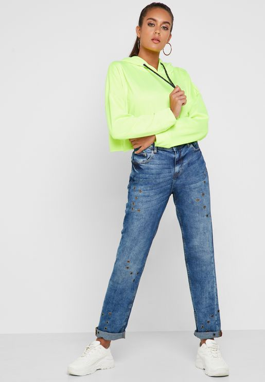 Stud Bleached Straight Jeans