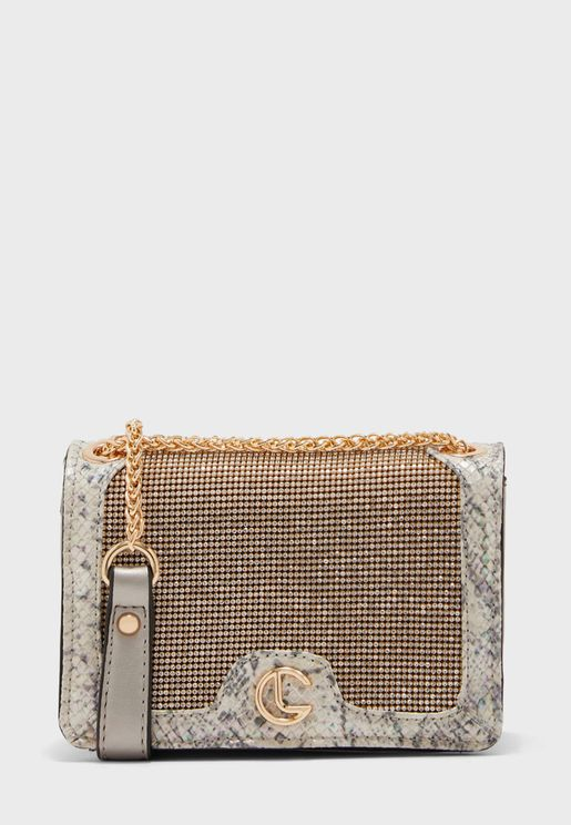Chain Detail Belted Crossbody