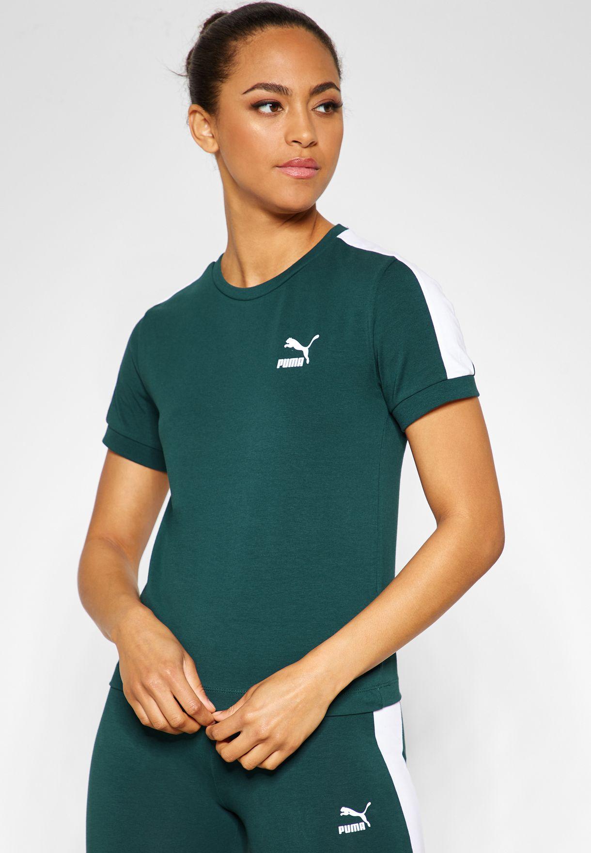 fbf5f20f Shop PUMA green Classic T7 T-Shirt 57795130 for Women in UAE ...