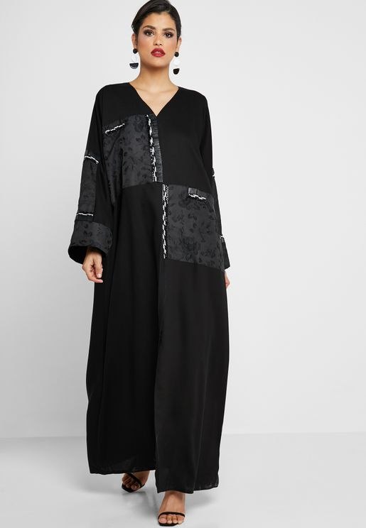 Patched Beaded Abaya