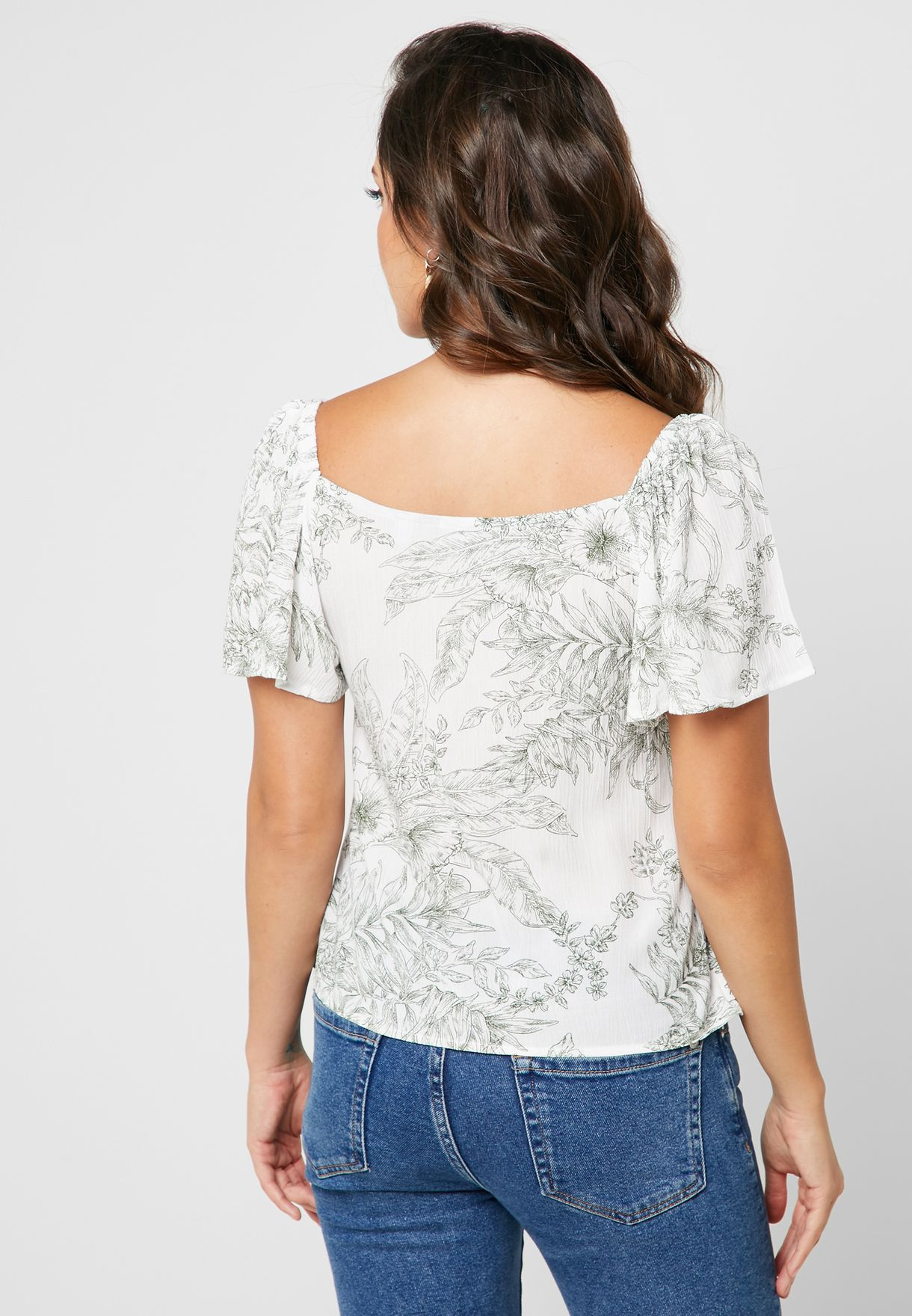Ruffle Sleeve Printed Top