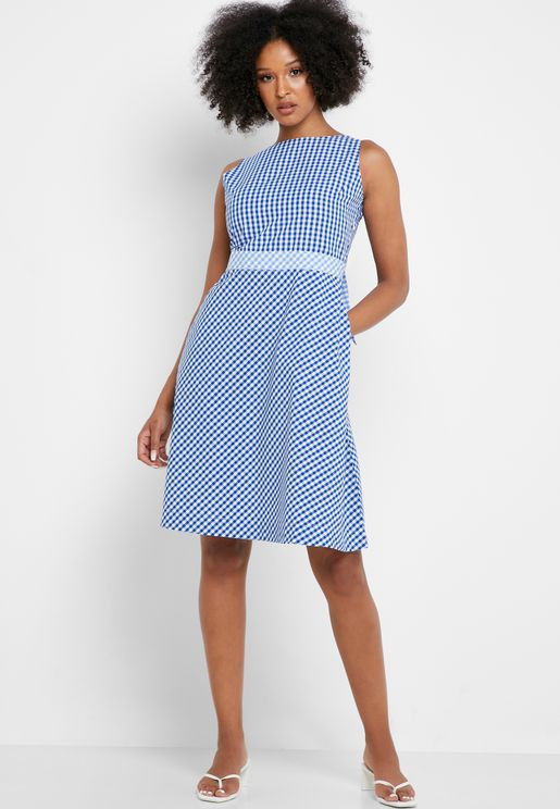 Gingham Check Back Cut Out Skater Dress