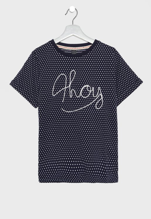 Teen Slogan Polka Dot T-Shirt