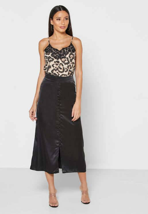 Satin Button Front Midi Skirt