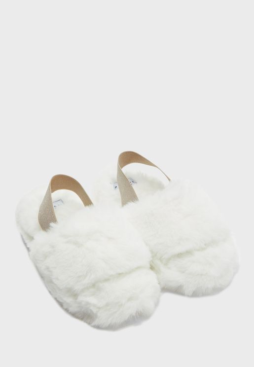Fluffy Glitter Slingback House Slipper