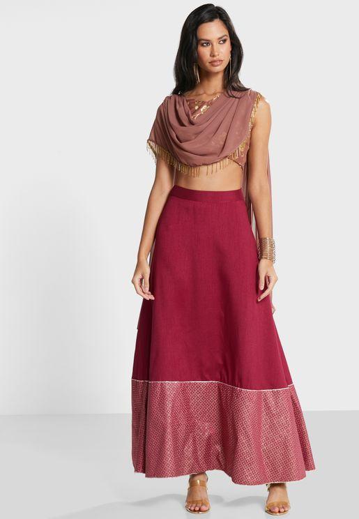 Wine Foil Border Maxi Skirt