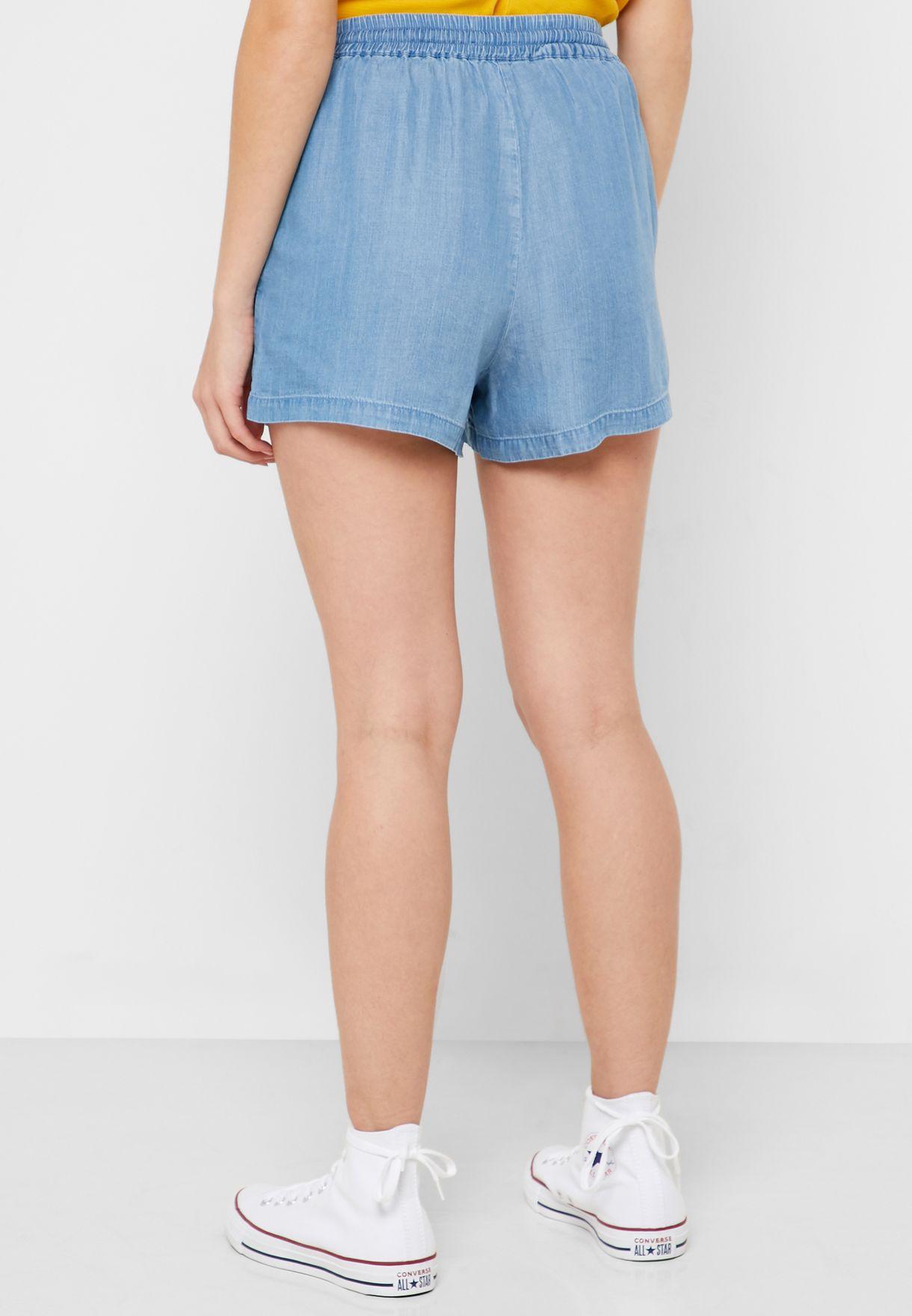 Tie Waist Embroidered Shorts