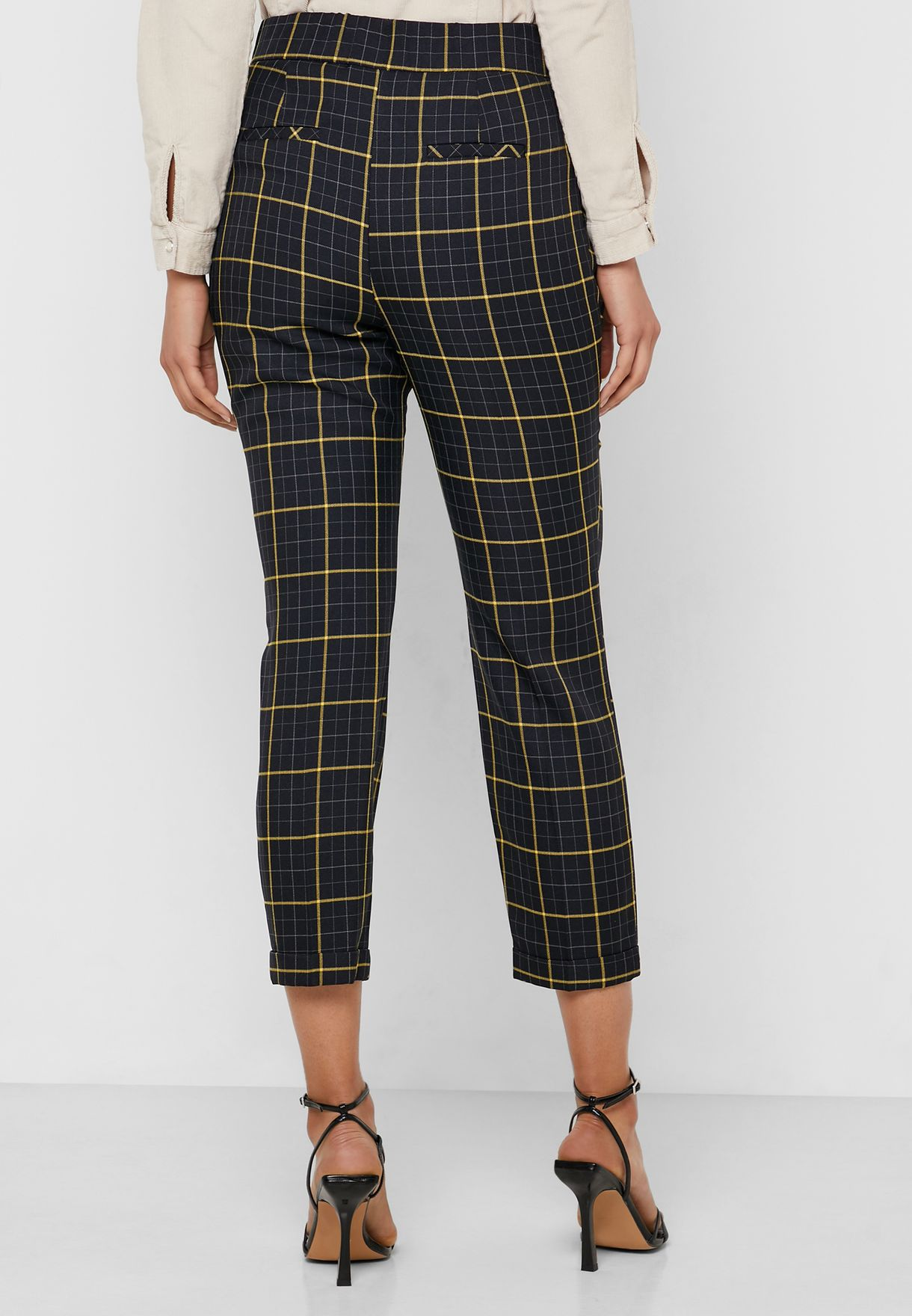 Checked High Waist Pants