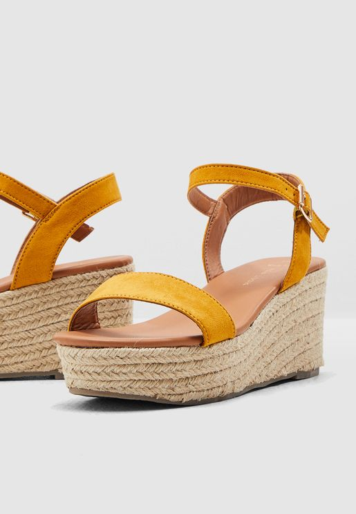 Wide Fit Platter Wedge Sandal - Yellow