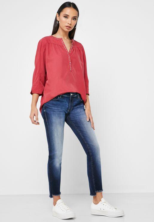 Raw Hem Skinny Jeans