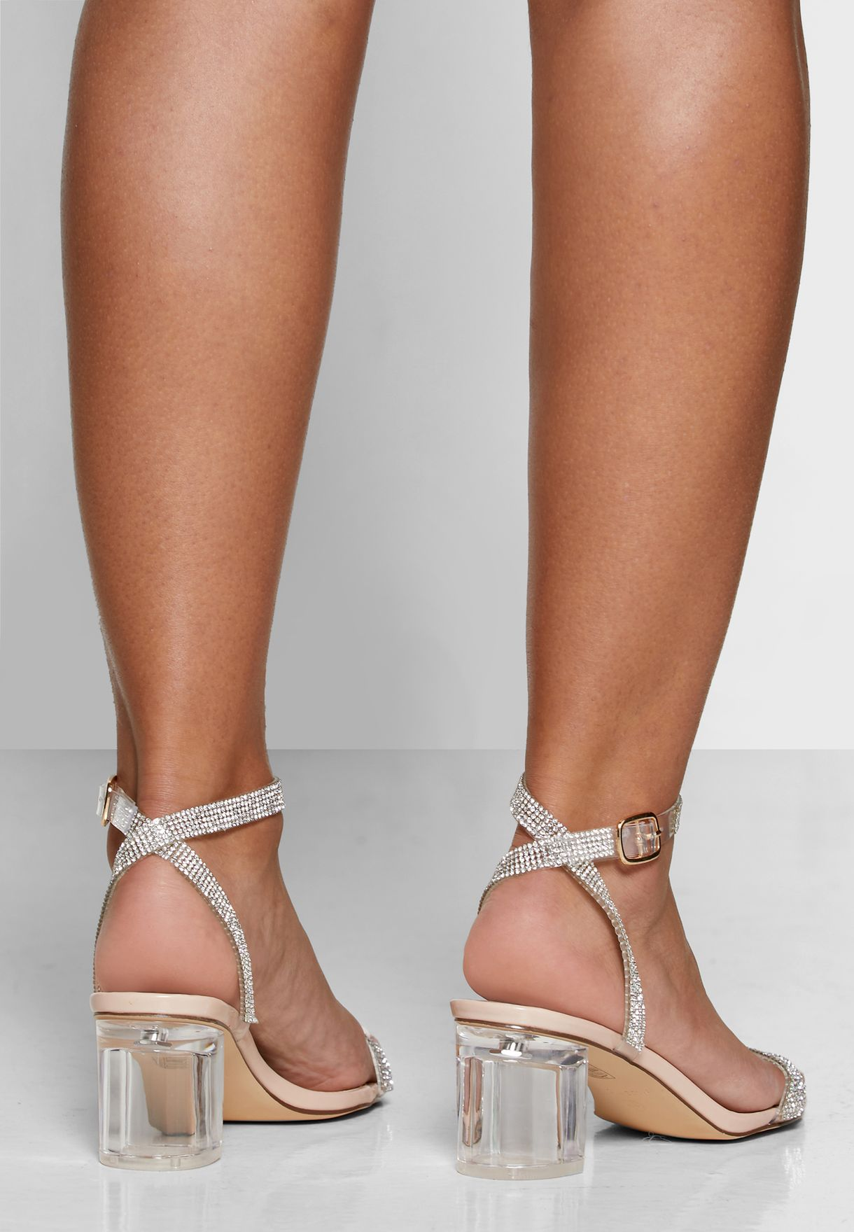 Clear Perspex Block Heel Sandals