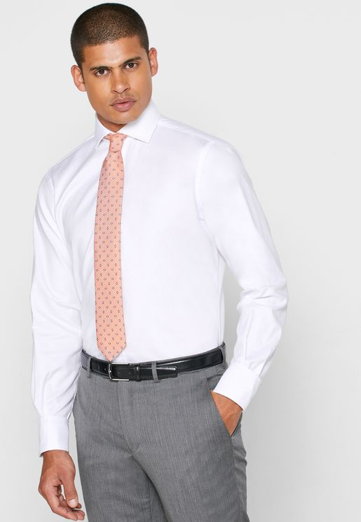 Cutaway Collar Double Cuff Slim Fit Shirt