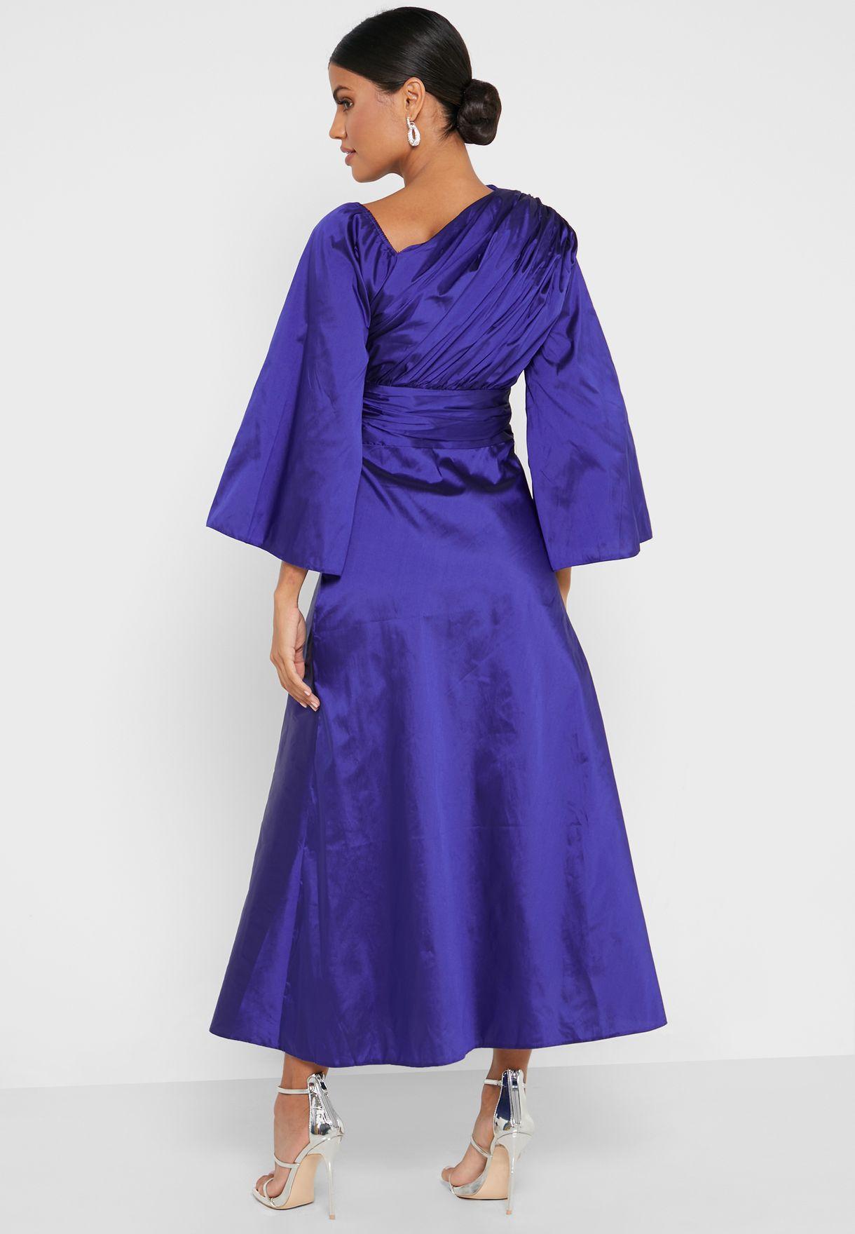 Draped Neckline Detail Dress