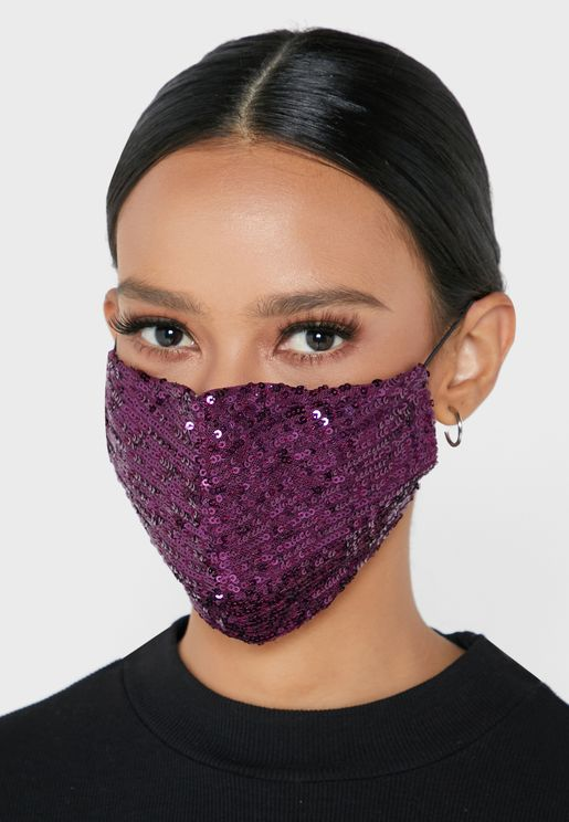 Small Sequins Striped Mask