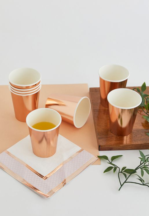 Rose Gold Foil Cups Pack of 8