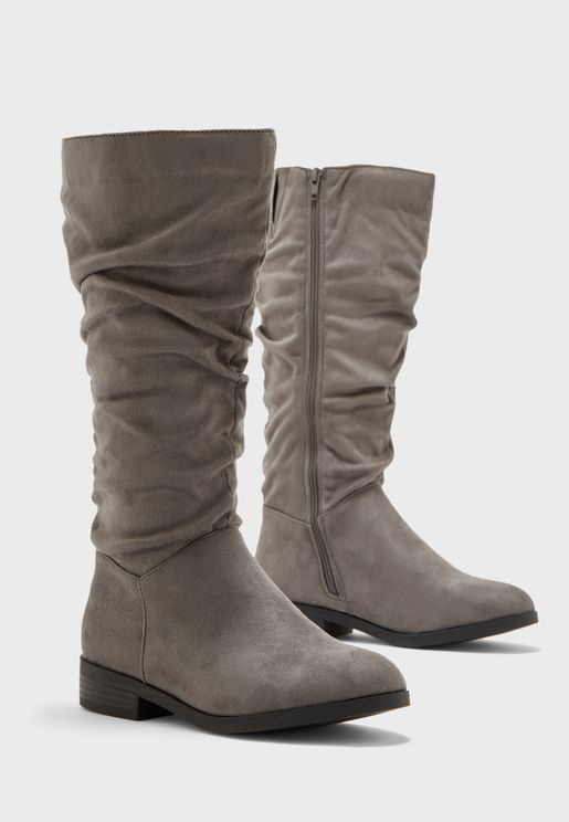 Wide Fit Suedette Ruched Knee High Boot