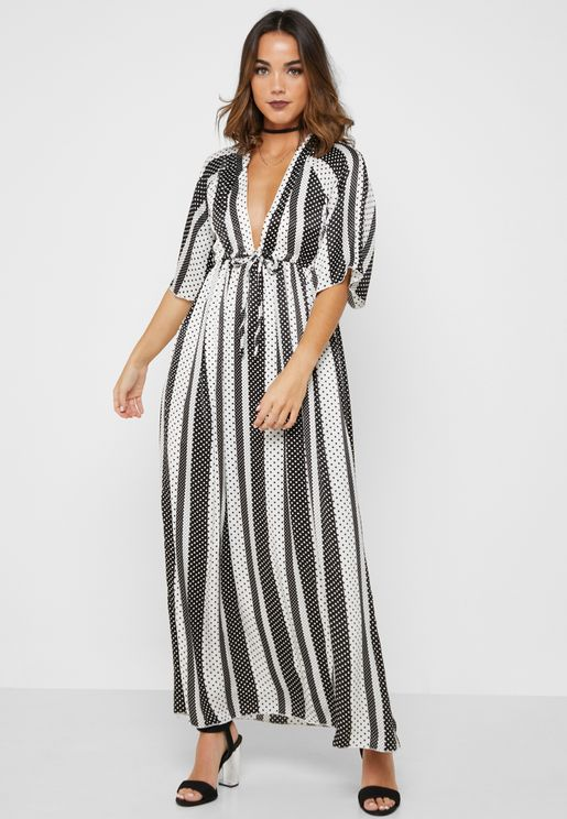 Polka Dot Plunge Neck Maxi Dress