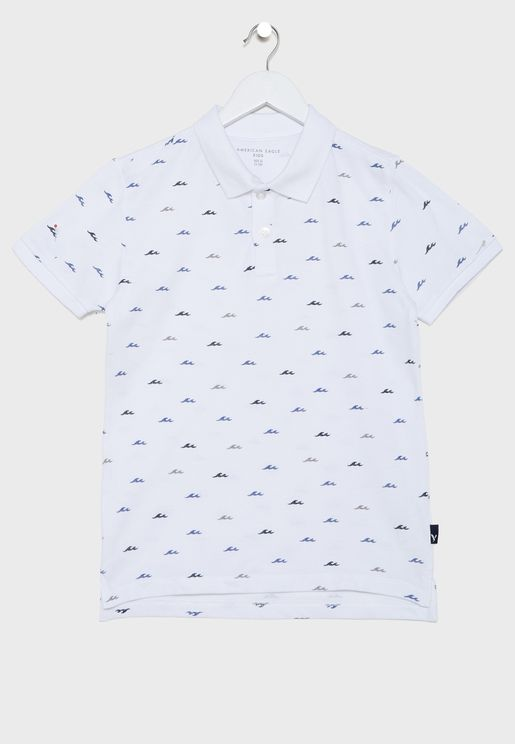 Kids Waves Print Polo