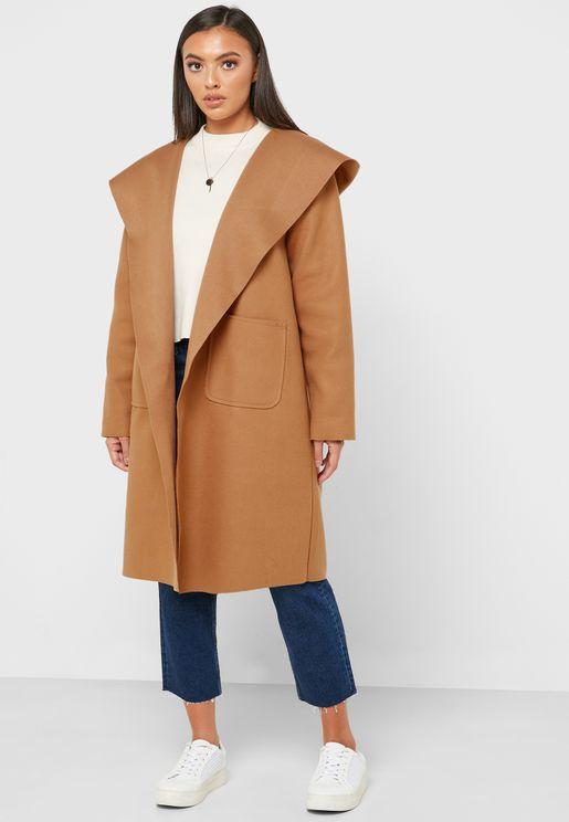 معطف فضفاض بنمط هودي