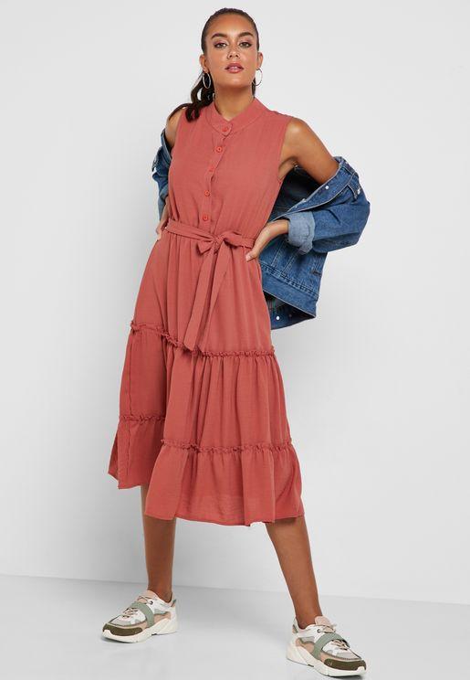 Tiered Self Tie Shirt Midi Dress