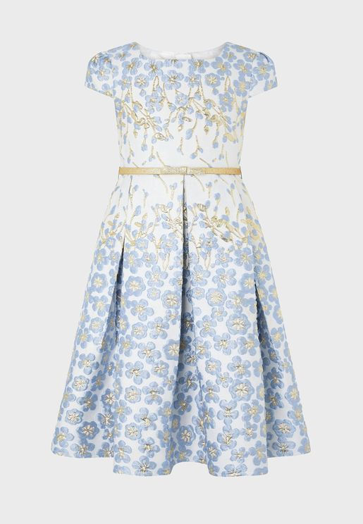 Kids Petal Border Jacquard Dress