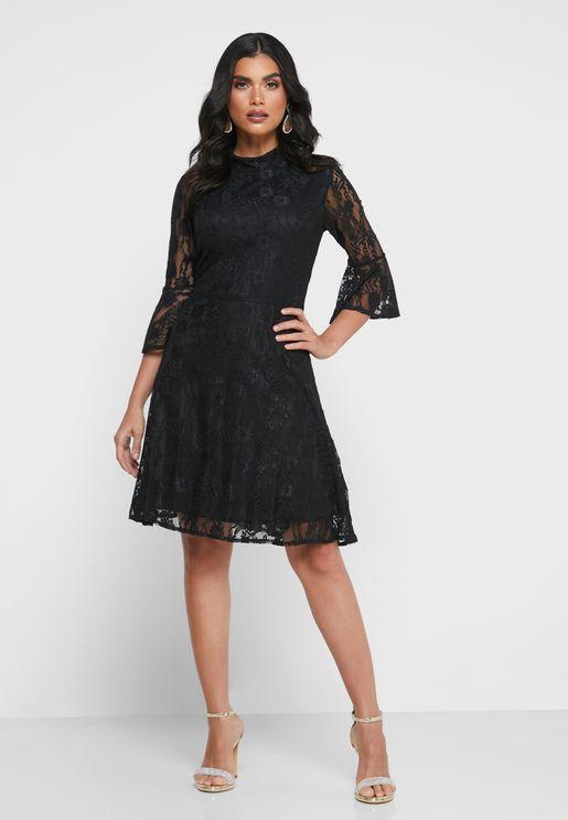 High Neck Flute Sleeve Lace Dress