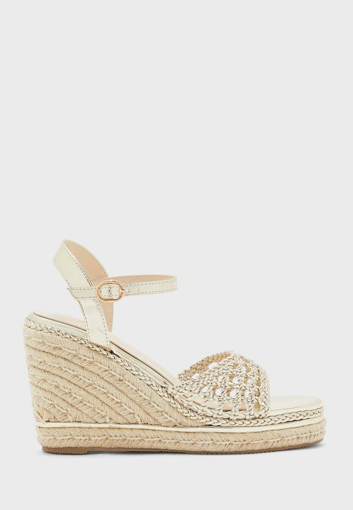 Weaved Ankle Strap Wedge Sandal With Metallic Trim