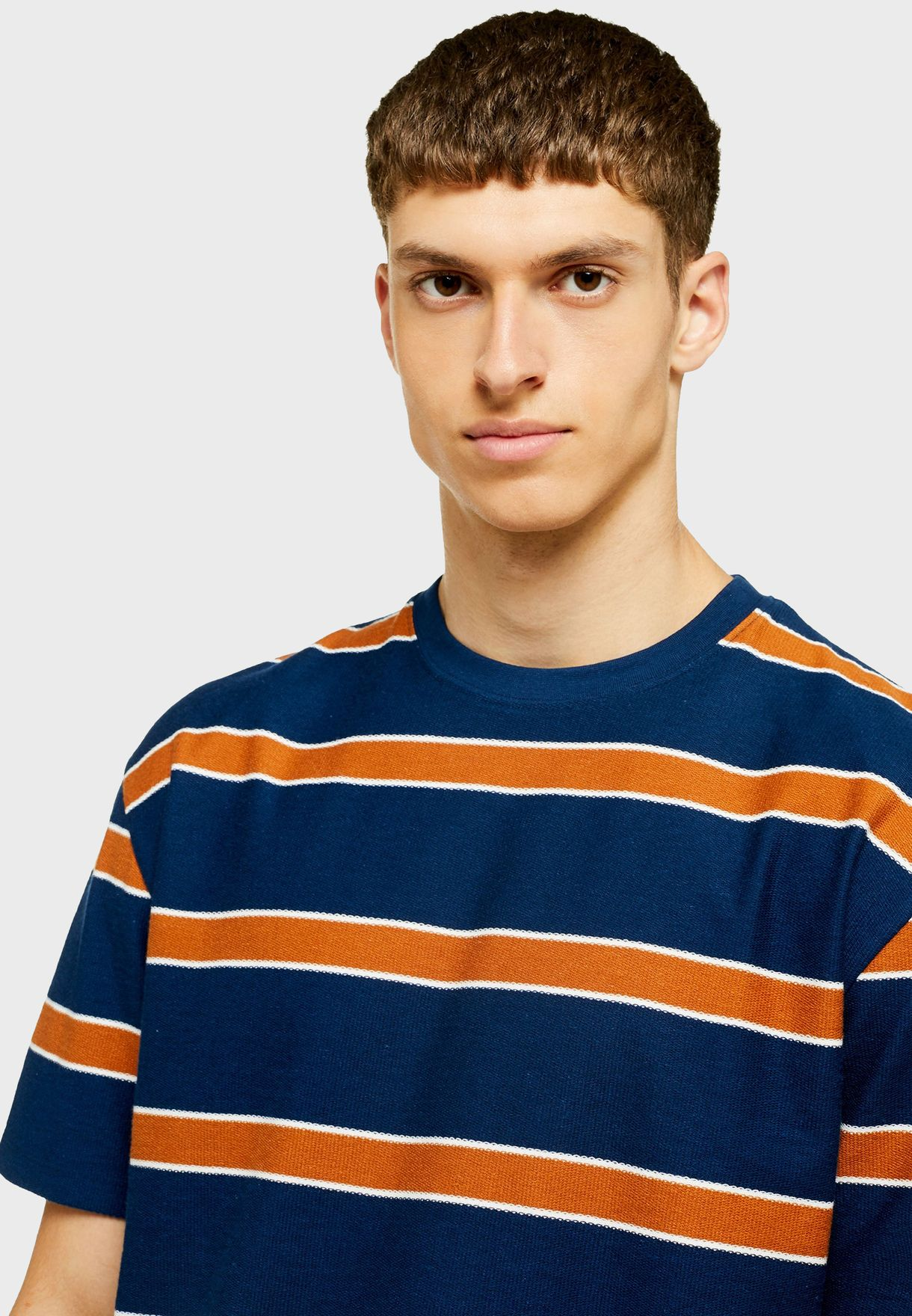 Loopback Striped Crew Neck T-Shirt