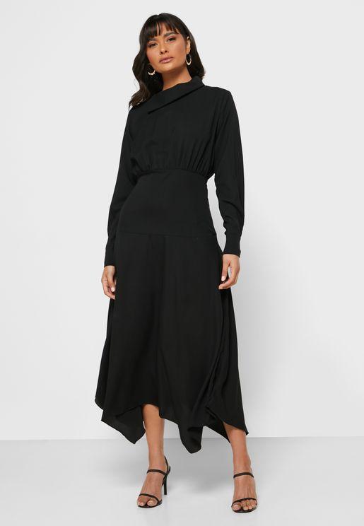 Detailed Neck Midi Dress