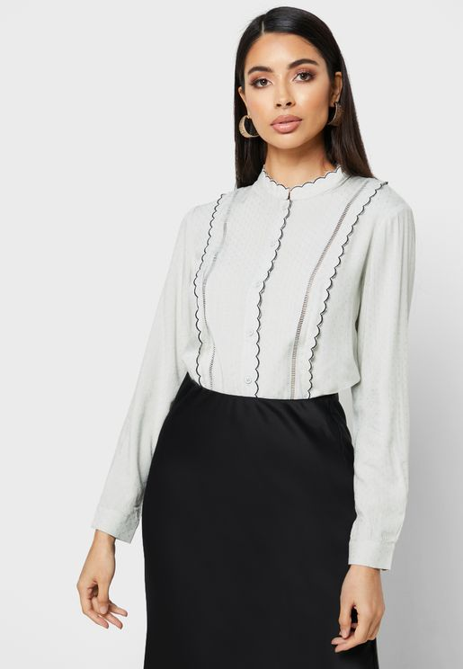 Contrast Stitch Button Down Top