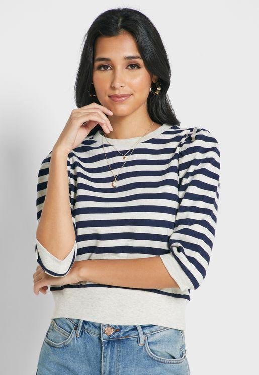 Puff Sleeve Striped Sweatshirt