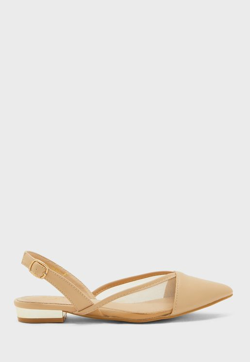 Pointed Mesh Detail Slingback Shoe