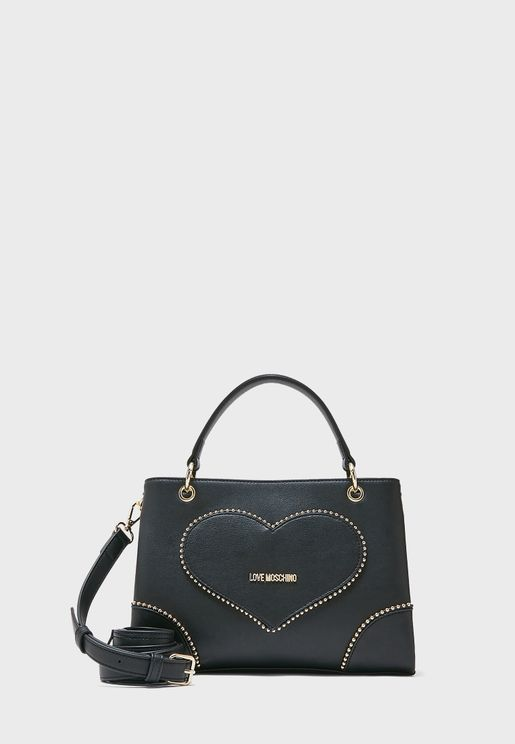Top Handle Sequin Heart Satchel