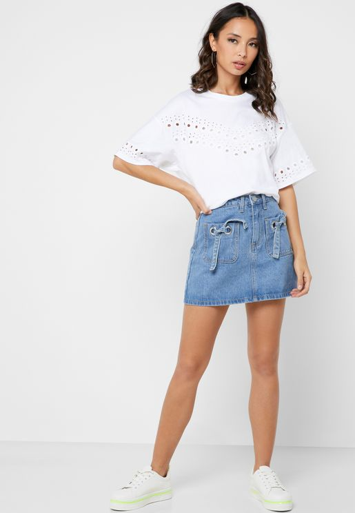 Bow Detail Denim Skirt