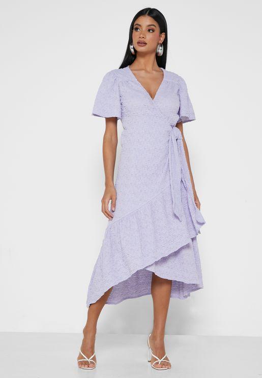 Textured Wrap Smock Midaxi Dress