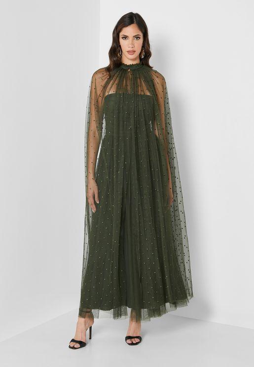 فستان بطبقة تول بنمط كيب