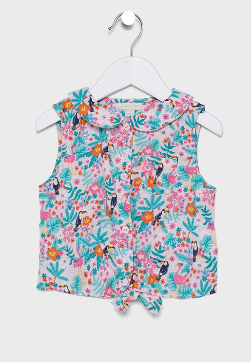 Kids Pretty Toucan Tie-Front Top