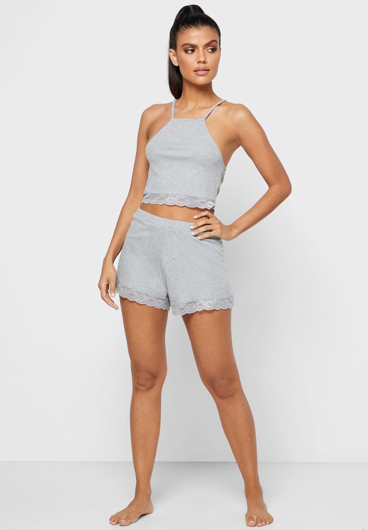 Rib Lace Trim Pyjama Set