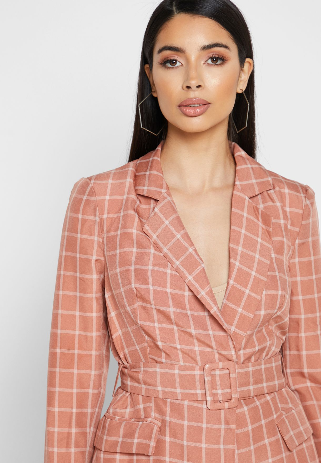 Checked Longline Belted Blazer