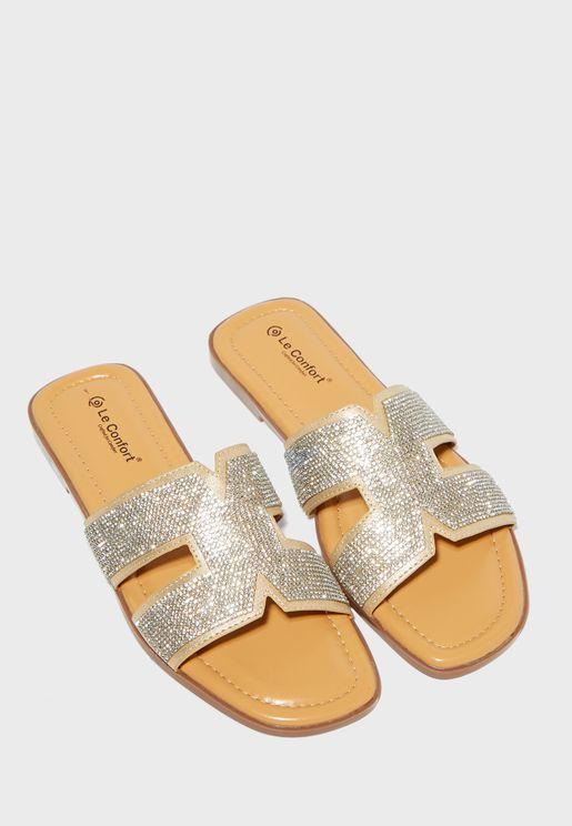 Embellished Strap Flat Sandal
