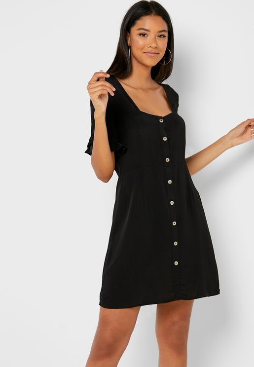 Frill Sleeves Button Through Dress