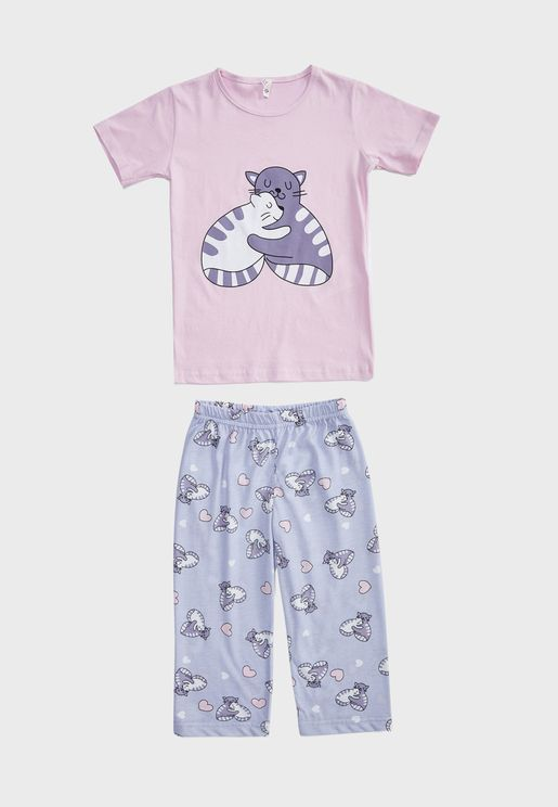 Kids Graphic T-Shirt + Short Pyjama Set