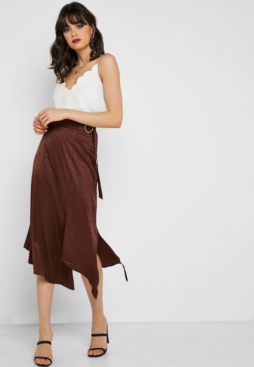 Side Split Belted Jacquard Skirt
