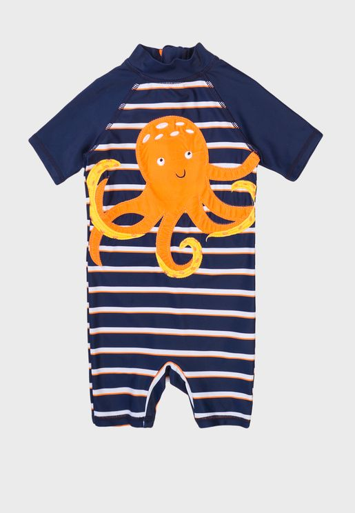 Kids Basic Striped Swimsuit