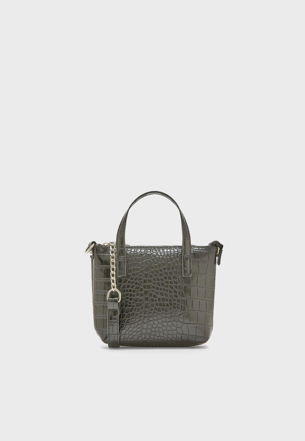 Mini Tote Bag In Mock Croc