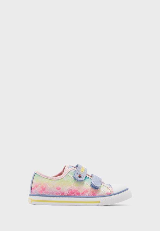 Kids Printed Multi Strap Sneaker