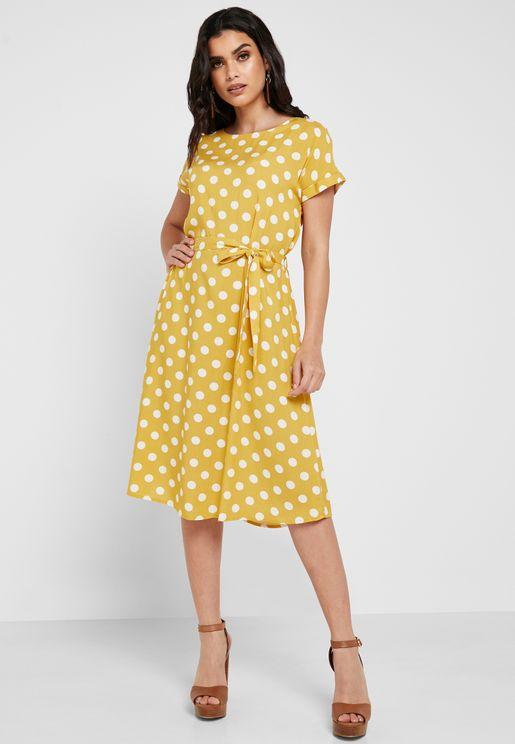 Polka Dot Tie Waist Dress
