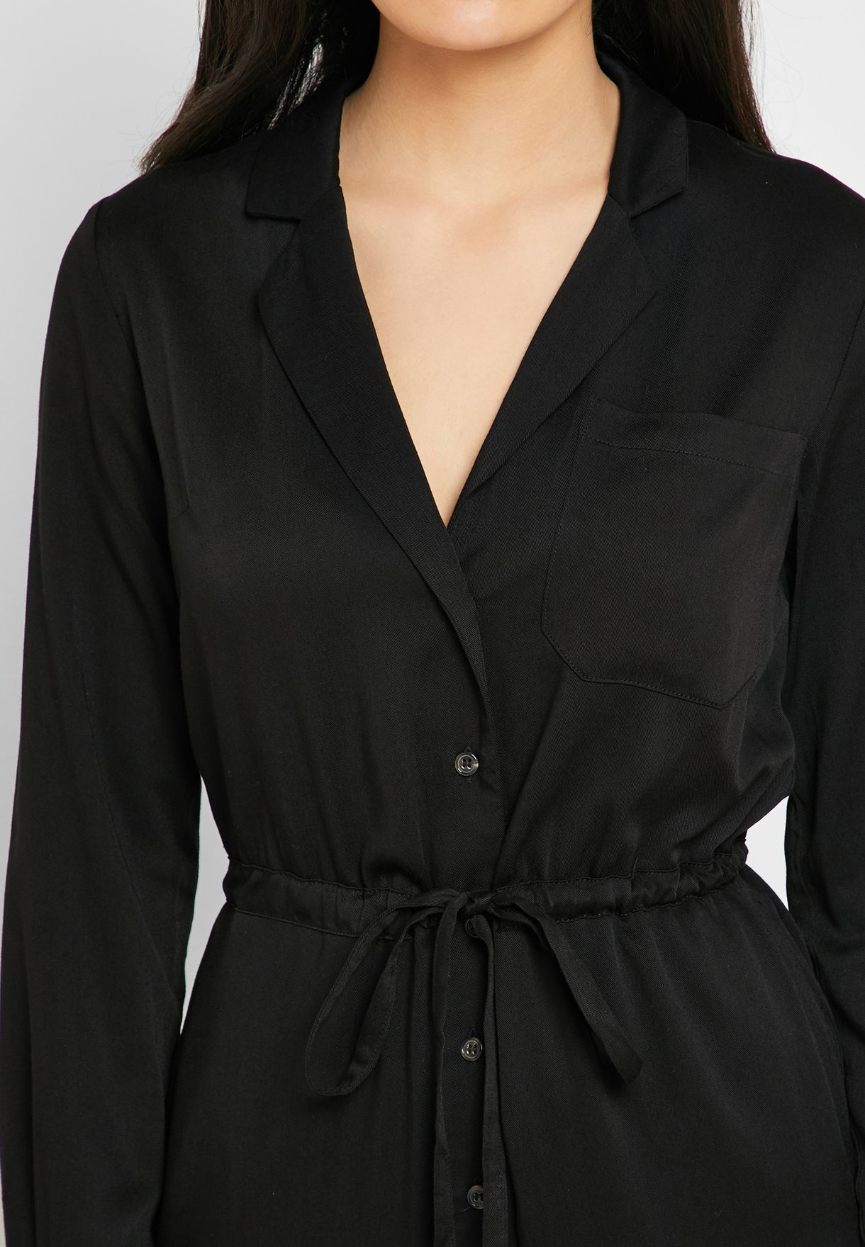 Tie Waist Long Sleeve Boilersuit