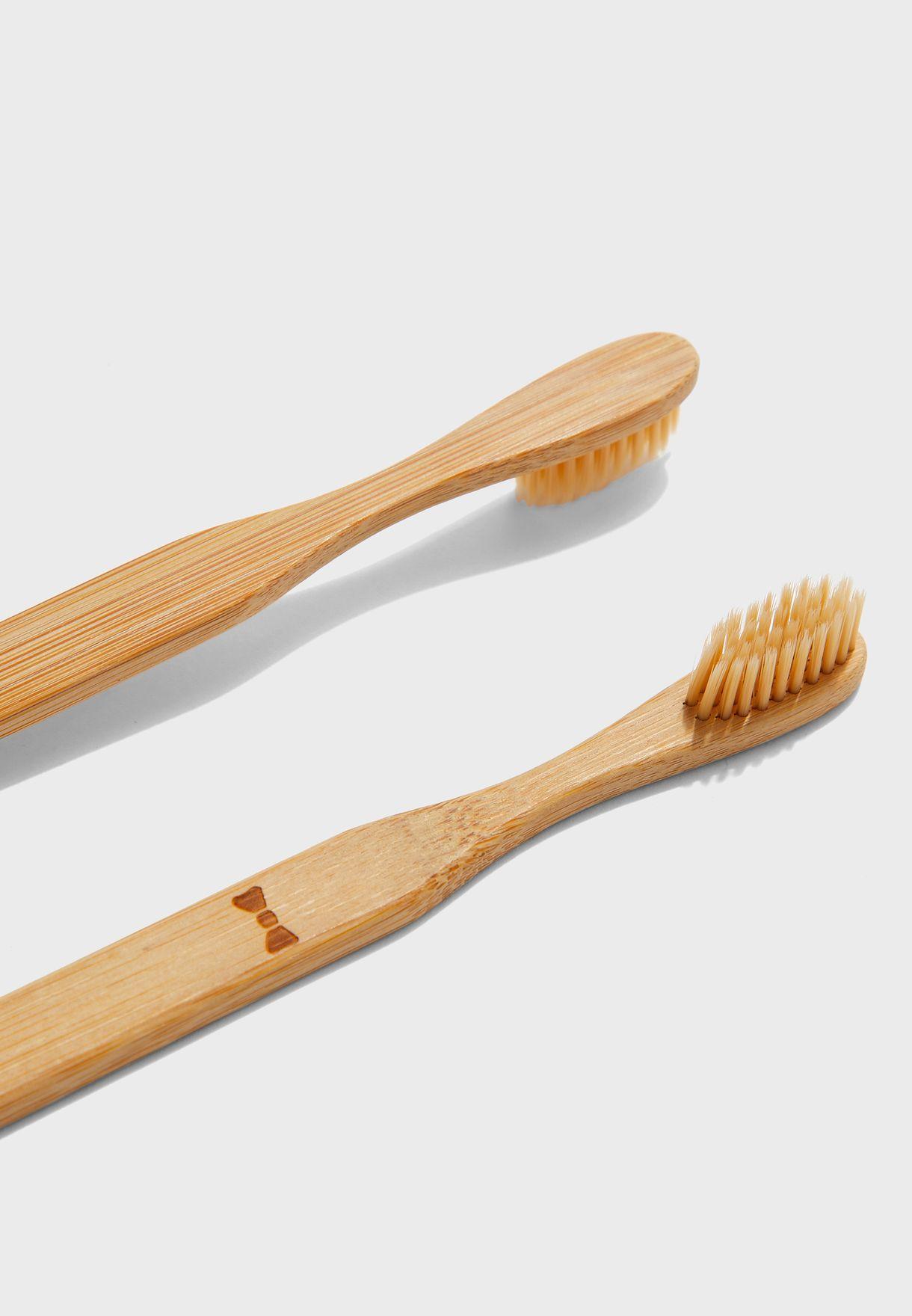 مجموعة من 2 فراشي أسنان من البامبو