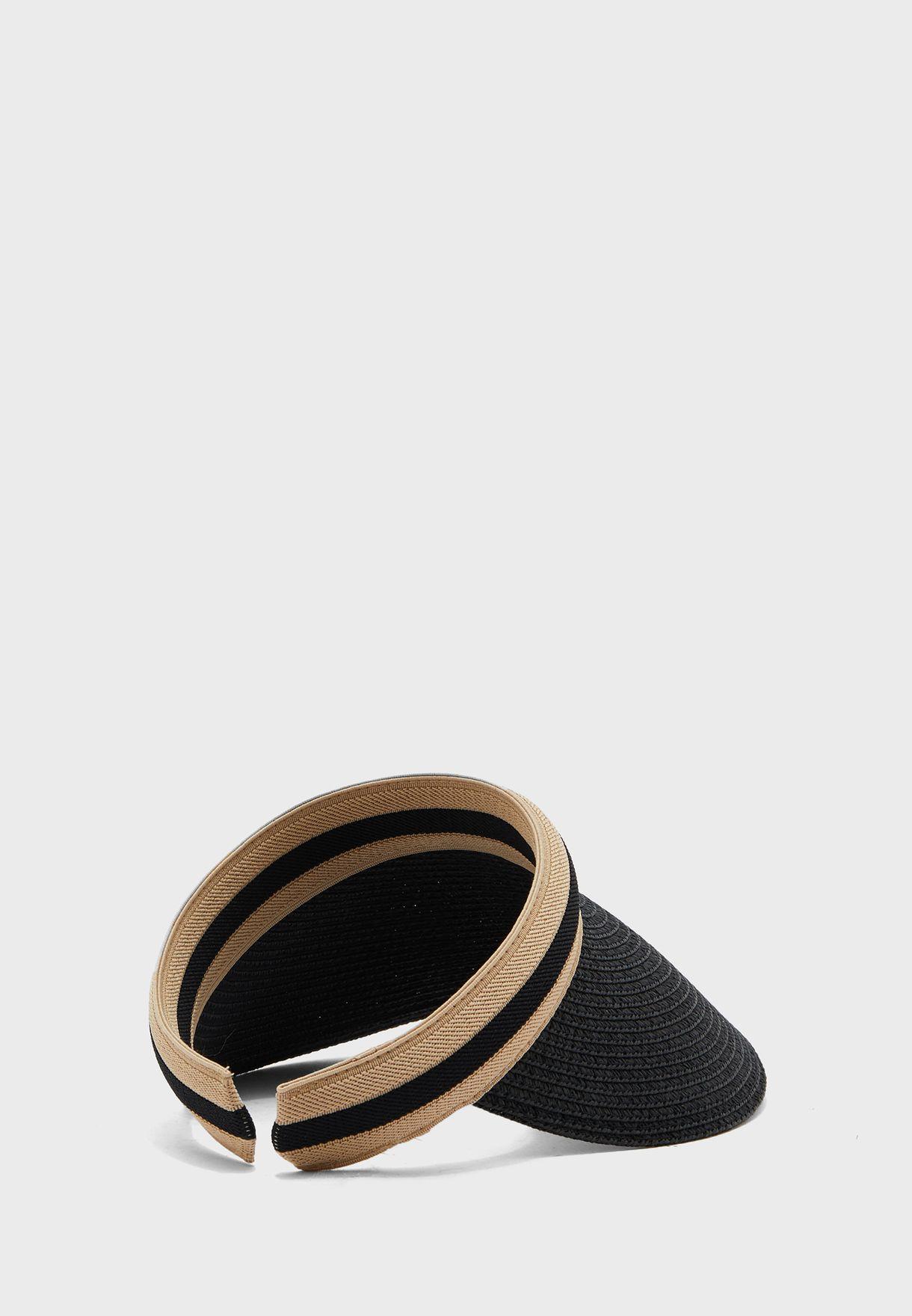 قبعة قش بطباعة خط